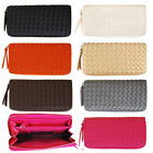 Weaving Wallet Faux Leather Checkbook Zip Around Purse  Luxury Gift for Women