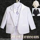 5pcs Set Formal Suit Outfit Christening Wedding Page Boy Black Age 9m-3y ST022A