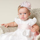 "Baby Beau & Belle ""Jenna White"" silk Christening and Baptism Gown"