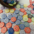 10 gingham round buttons pink red blue yellow 12mm diameter