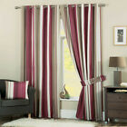 Dreams n Drapes Claret Red Whitworth Ready Made Striped Eyelet Ring Top Curtains