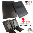2pcs Mens Genuine Leather Magnetic Money Clip ID Credit Card Holder/Pocket -MC45