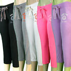 Capri Fleece Shorts Cropped Fitted Lounge Pants Sweats Drawstring Sweatpants
