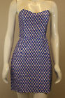 NEW LADIES BLUE WHITE ILLUSION PRINT STRAPLESS SILK DRESS UK 6/8/10/12/14