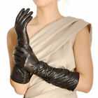 Stylish ltalian leather Ruched elbow length long evening dress gloves NWT