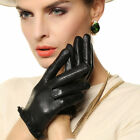 Women's Genuine LAMBSKIN comfortable perforated leather gloves  w/ lace cuff