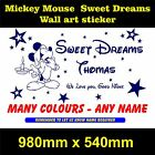 Mickey mouse wall art  girls boys bedtime bedroom sticker  personalised decal