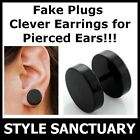 Stainless Steel Black Fake Flesh Plug Earring Ear Stretcher Piercing Cheater NEW