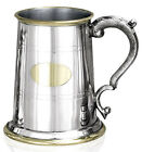 STUNNING PEWTER & BRASS TANKARD Personalised & Box Options Mens Special Gift NEW