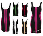 J94 NEW WOMENS OPTICAL ILLUSION LADIES SLIMMING COLOUR BLOCK BODYCON DRESSES TOP