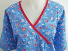 LARGE RED WHITE LILAC PURPLE ROYAL CEIL BLUE HEARTS & FLOWERS SCRUB TOP
