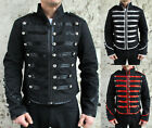 Military Parade Jacket Tunic Rock Black Red Silver New Gothic Steampunk Army