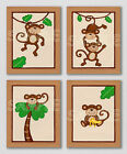 CURIOUS MONKEY Giclee Prints BEIGE Nursery Bedding Baby Boy Girl Art Wall Decor