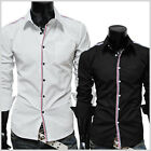 (JJS) THELEES Mens casual stripe patch slim shirts 2 COLOR
