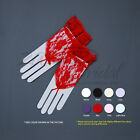 Flower Pattern Fingerless Lace Gloves with Ruffle / Wrist Length, Various Colors