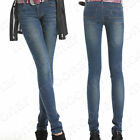 Ladies Fall/Winter Demin Jean Warm Long Skinny Fit Leg Wear Pants Slim Trousers