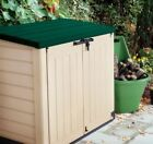 KETER STORE IT OUT MAX XL GREEN LID PLASTIC GARDEN SHED WHEELIE BIN STORAGE