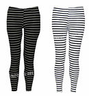 W39 NEW WOMENS LADIES FULL LENGTH VERTICAL STRIPED FUNKY LEGGINGS 8-14
