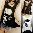 Individual Punk Skull Print Asymmetrical Hem Hollow Back Girl Shirt Tops Blouse