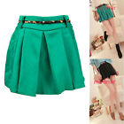 2012 Girls High Waist Above-Knee Pant Skirts Fitted Pleated Free Belt Summer
