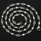 4mm Mens Boys Chain Silver Tone Heart Circle Stainless Steel Necklace 16-36inch