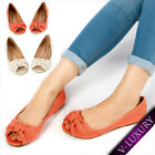 Womens Shoes Canvas Open Toe Knotted Bow Ballerina Ballet Flats Cute Causal