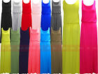 Y30 NEW WOMEN LADIES JERSEY PLAIN TOGA PUFF BALL VEST MAXI DRESS...