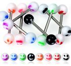 FREEPOST Surgical Steel Tongue Bars Smiley Face 6mm Balls 1.6mm x 16mm Barbell