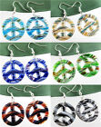 Polychrome Baroque Peace Sign Round Lampwork Glass Pendant Dangles Earring kj641