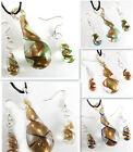 Set Sprial Gold Sand Lampwork Art Glass Dewdrop Pendant Necklace Earrings kj640