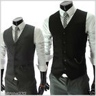 RVE) THELEES Mens Casual Chain Zipper Pocket 5 Button Slim Vest Waistcoat M L XL