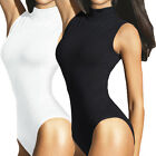 LADIES SLEEVELESS  TURTLENECK  BODYSUIT WOMENS LEOTARD TOPS IN UK SIZES 8-16