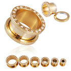 1 Pair Gold plt Jeweled Steel Screw Fit  Ear plug body piercing earrings FR170