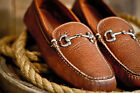 Mens Bison Leather Casual Shoes - Bit Driver Loafer Mocca...