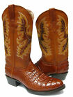MEN'S COGNAC BROWN LEATHER BELLY Cut CROCODILE ALLIGATOR COWBOY BOOTS OVAL TOE
