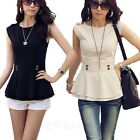 Beige/Black Work Business Shirts Womens Vintage Top Sleeveless Peplum Blouse