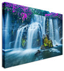 Large Picture Purple Blossom On Waterfall Canvas Wall Art Print