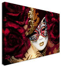 Venice Carnival Mask On Roses Canvas Wall Art Picture Large + Any Size