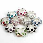 5Pcs Silver Plated Crystal Rhinestone European Spacer Bead Fit Charm Bracelet