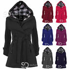 LADIES BELTED BUTTON COAT HOOD JACKET WOMENS PLAIN HOODED JACKET TOP