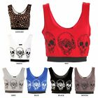 LADIES LEOPARD SKULL PRINT CROP WOMENS BRALET SPORTS BRA BOOBTUBE TOP VEST 8-14