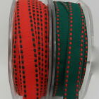 per 2 metres green or red grosgrain stitch christmas ribbon 10mm wide