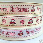 2x metres christmas ribbons christmas owl merry christmas 16mm wide