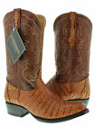 MEN'S COGNAC BROWN GENUINE CROCODILE ALLIGATOR FLANK CUT COWBOY BOOTS WESTERN