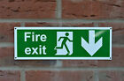 Fire Exit Arrow Direction Down Emergency Sticker Plastic Holed Sign 100x300