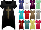 New Womens Plus Stud Cross Hanky Hem Tunic Ladies Short Sleeve Long Top 12 - 30