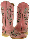 WOMEN'S COWBOY BOOTS LADIES SQUARE LEATHER SEQUINS WESTERN RODEO BIKER RIDING