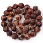 8MM 10MM 12MM 14MM 15MM ROUND SHAPE FROSTED OLD AGATE GEMSTONE BEADS STRAND 15""