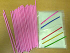 "50 x 190mm 7.5"" PINK PLASTIC LOLLIPOP STICKS CAKE POP KIT BAGS TWISTTIES"