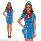 Ladies Stewardess Hostess Cabin Crew Hen Party Fancy Dress Costume - BLUE PS